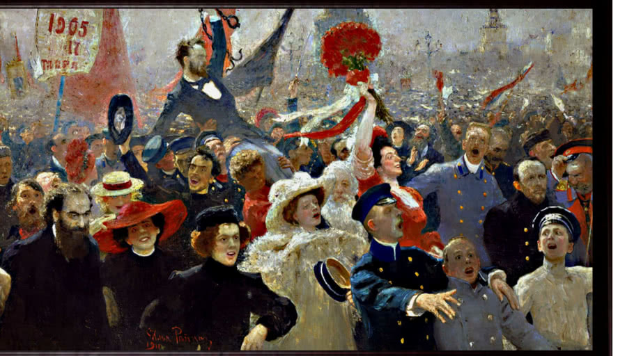 The manifest October 17, 1905 painting by Ilya Repin (1844-1930).