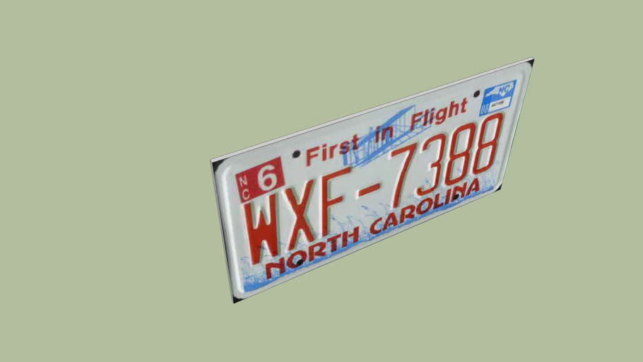 North Carolina Licence Plate