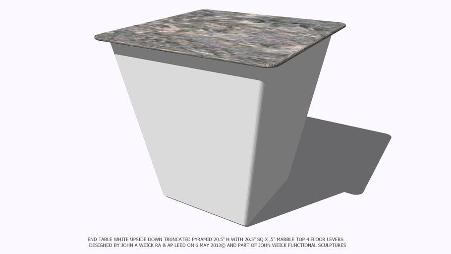 END TABLE 20 WHITE TRUNCATED PYRAMID MARBLE TOP BY JOHN A WEICK RA