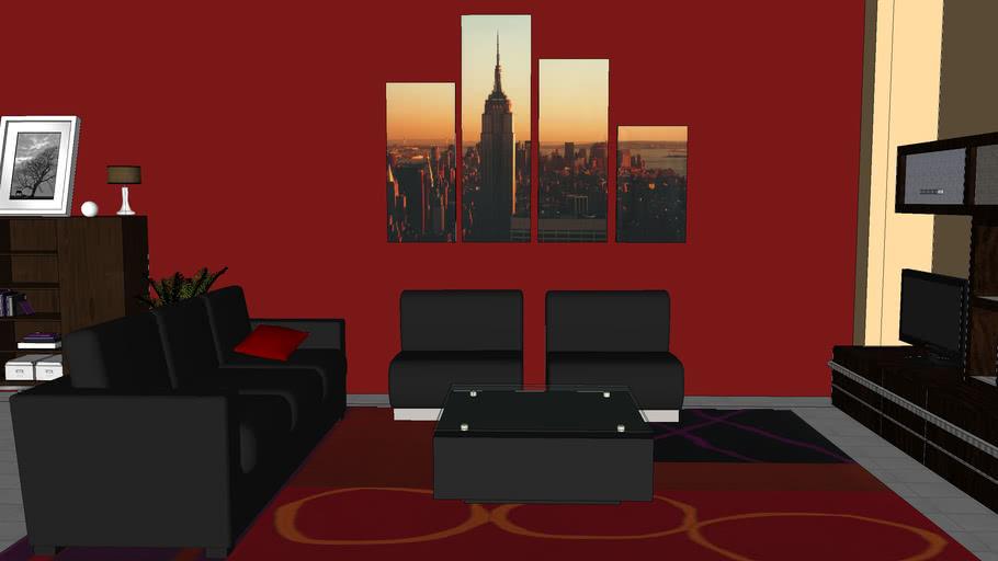 mi sala en color rojo