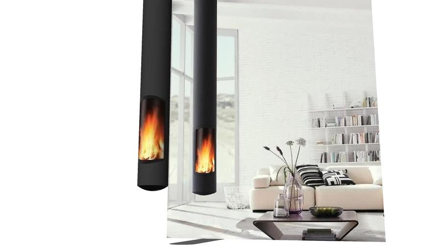 Modern hanging tube fireplace