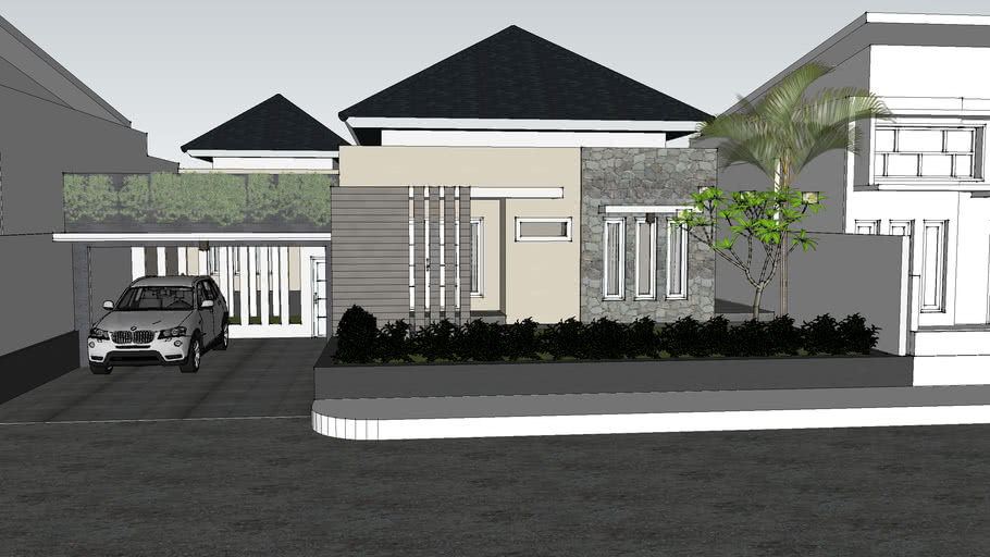 Desain Rumah 1 Lantai Arsitektur Tropis 3d Warehouse