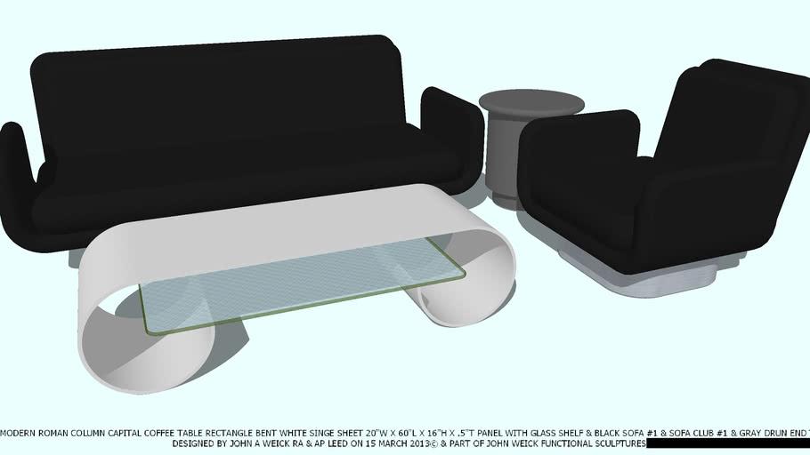 TABLE ROMAN CAPITALWHITE & GL BLACK SOFA & CHAIR BY JOHN A WEICK RA