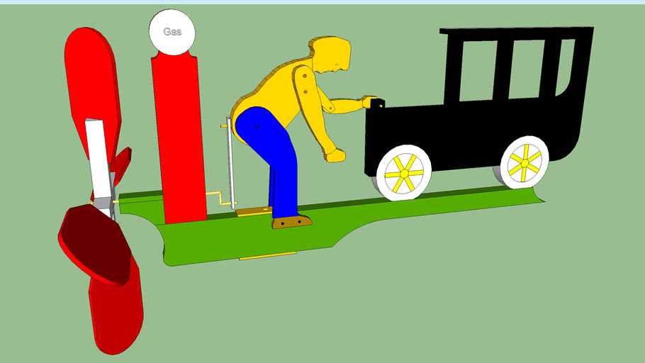 Whirligig of man crank starting old car