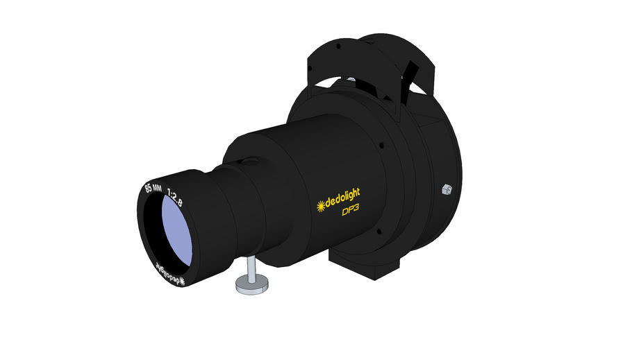 DP3 - Slide and gobo imager projection attachment, DPL85M - 85mm, f2.8 lens attached