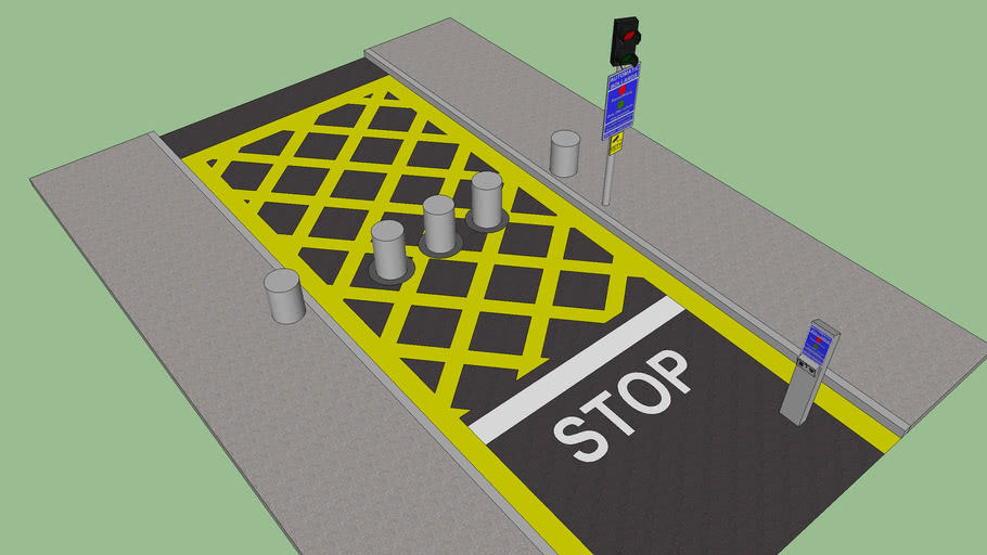 Road with automatic bollards