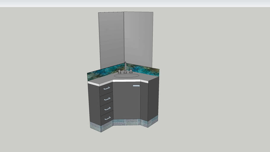 Corner Bathroom Cabinet With Mirrors 3d Warehouse
