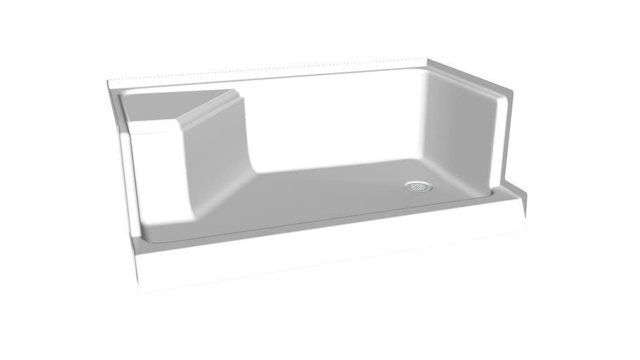 """K-9496 Memoirs(R) 60"""" x 36"""" single threshold right-hand drain shower base with integral seat at left"""