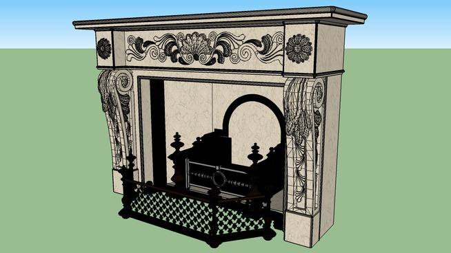 marble steel and gold fireplace