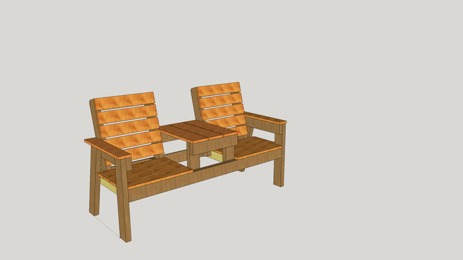 2 Seater Bench W/ Table
