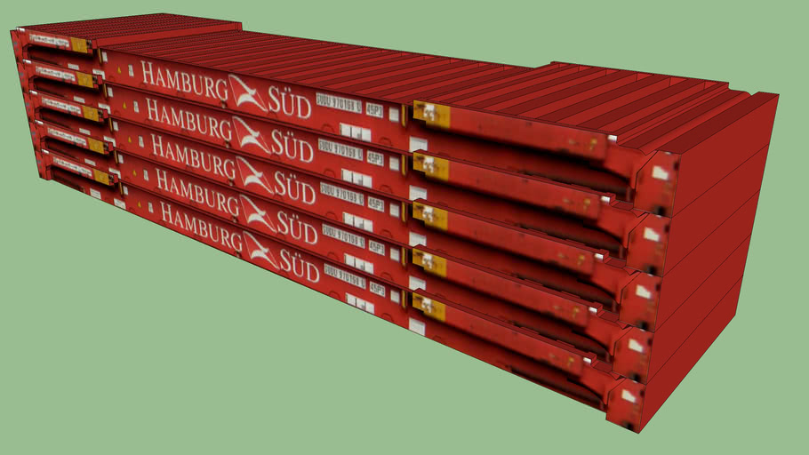5 Stacked HAMBURG SUD Flat Rack Container Stack