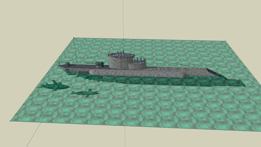 Submarine and Shark