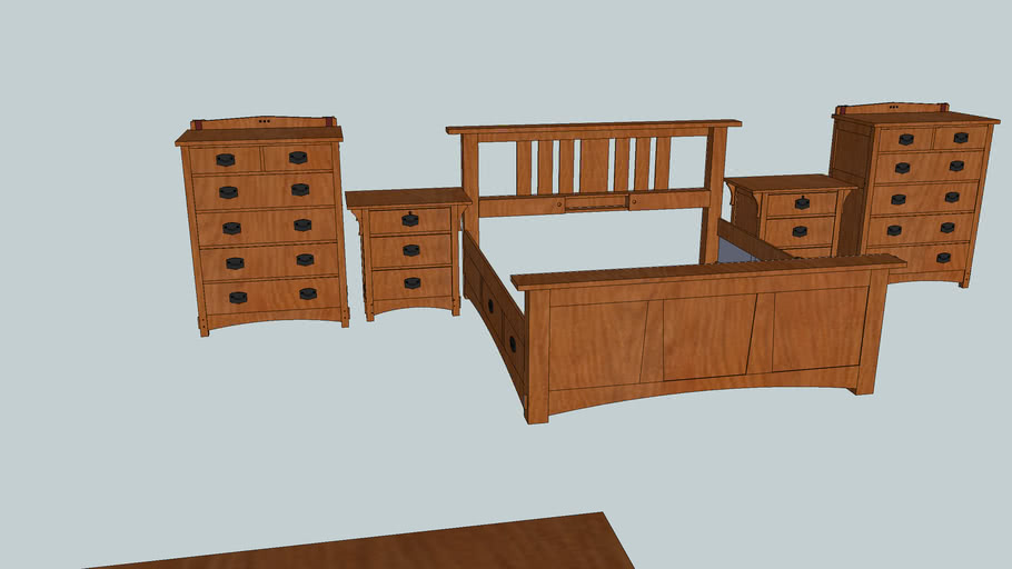 Arts and Crafts Bedroom Set Willie Sandry Designs No backsplash