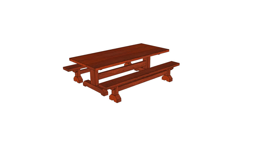 Picnic Table and Bench Set_Teak