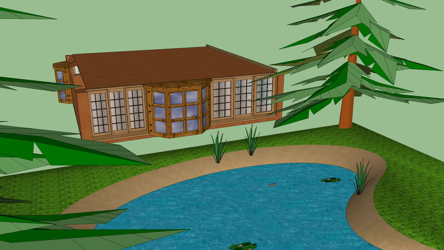 Cool but large padio w/ pond and trees!