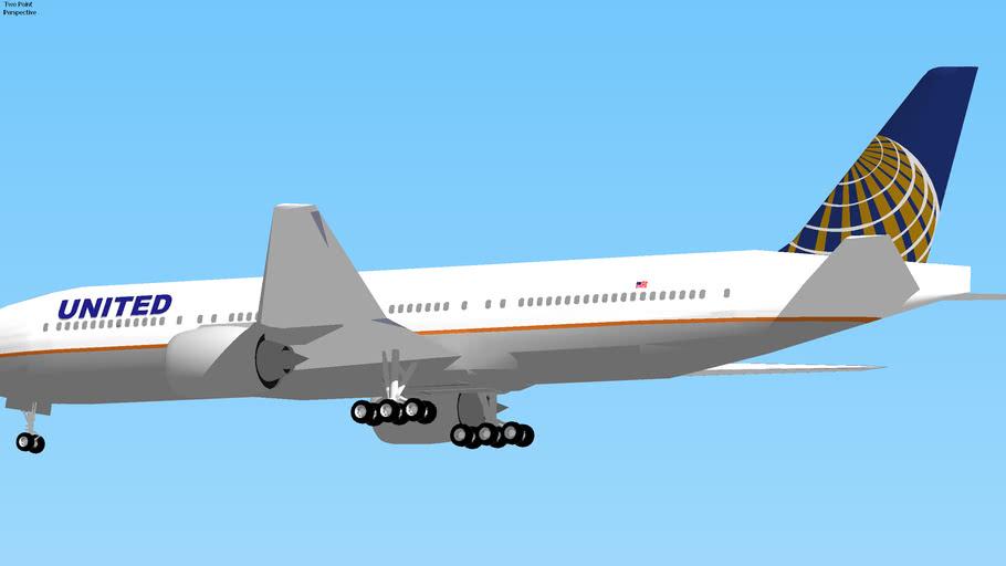 United Airlines Boeing 777-200ER Landing at Washington, USA.