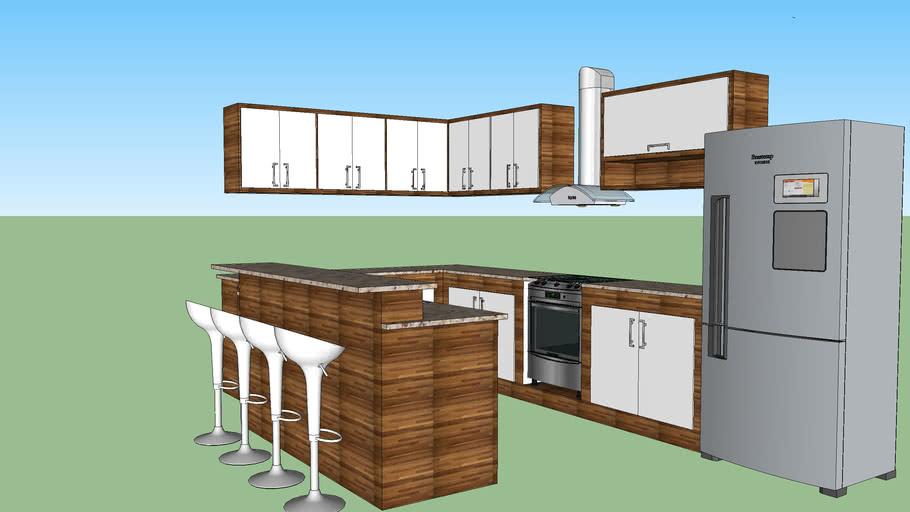 Cozinha Planejada com Balcão; Cozinha Americana