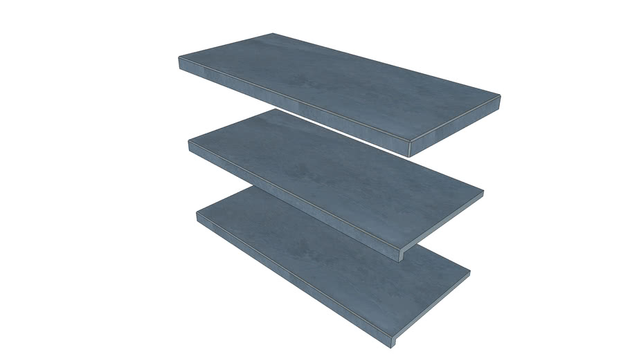 Slab Coke Porcelain Step 895 × 400 with  40mm Downstand