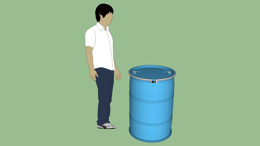 Industrial Series-Container -Drum-Poly- 55 gal.-OPEN HD - BOLT RING - Type 3 Bungs - Style 2 - Blue