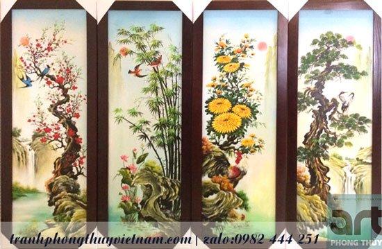 tranh tứ quý bốn mùa xuân hạ thu đông và chim muông quý