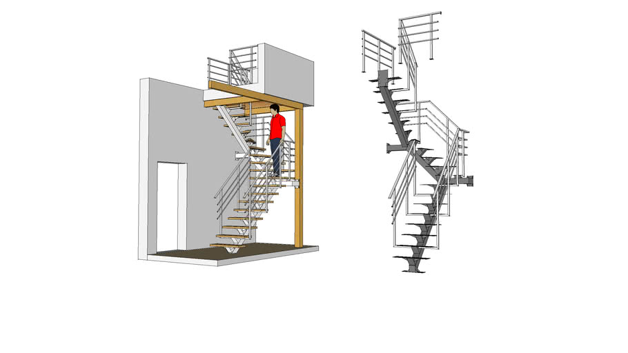 Лестница (stairway). Косоур: ГН120x120х4 мм. Перила: ГН 30x30x2 мм, ГН 15х15x1,5 мм, ГН 40х20х2 мм.