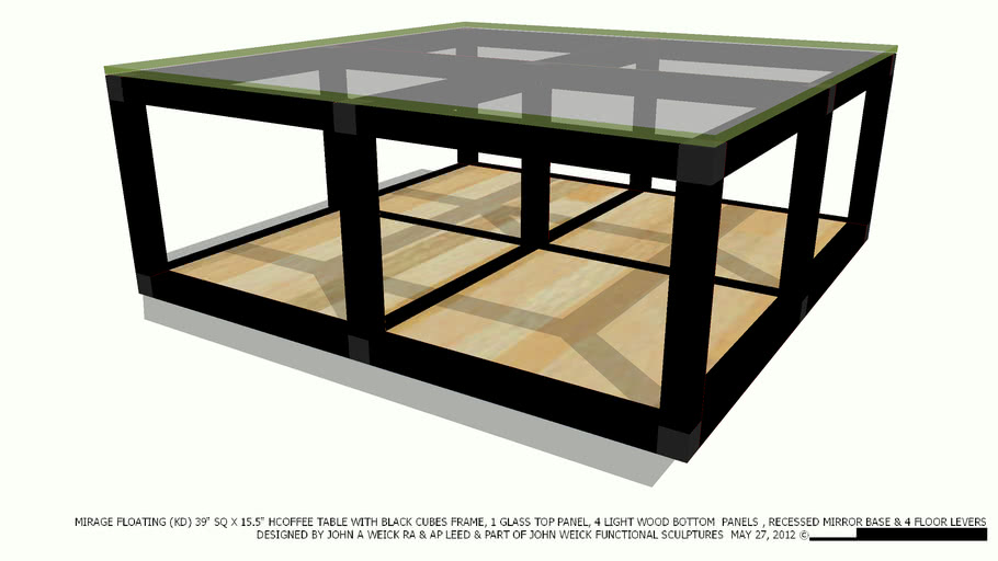 Coffee Table 39 Sq Black Cubes 4 Gl