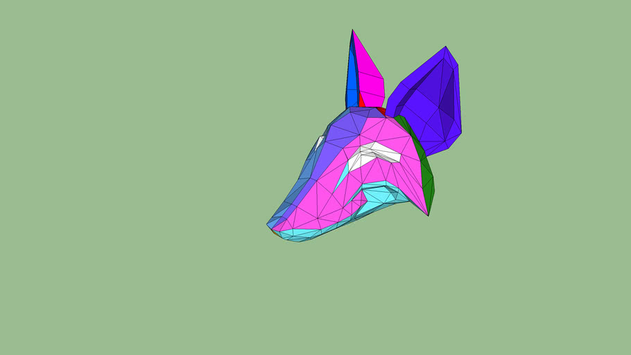 fox head optimized for pepakura