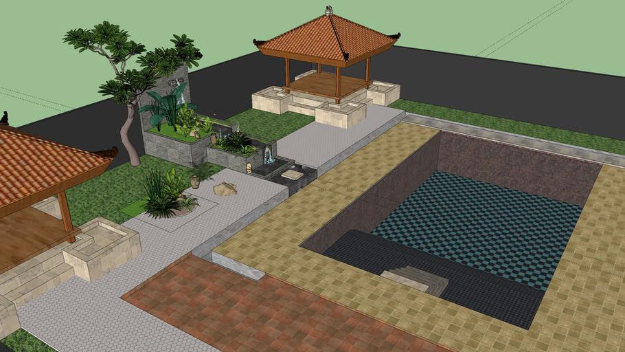 Rumah modern plus kolam renang gasebo