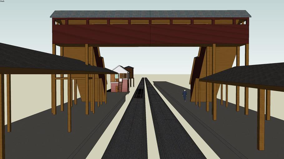 駅と跨線橋 Station and Overpass