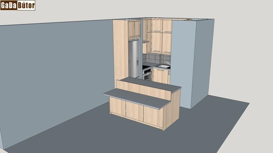 konyhabútor- kitchen furniture, oven, microwave oven, sink, fridge