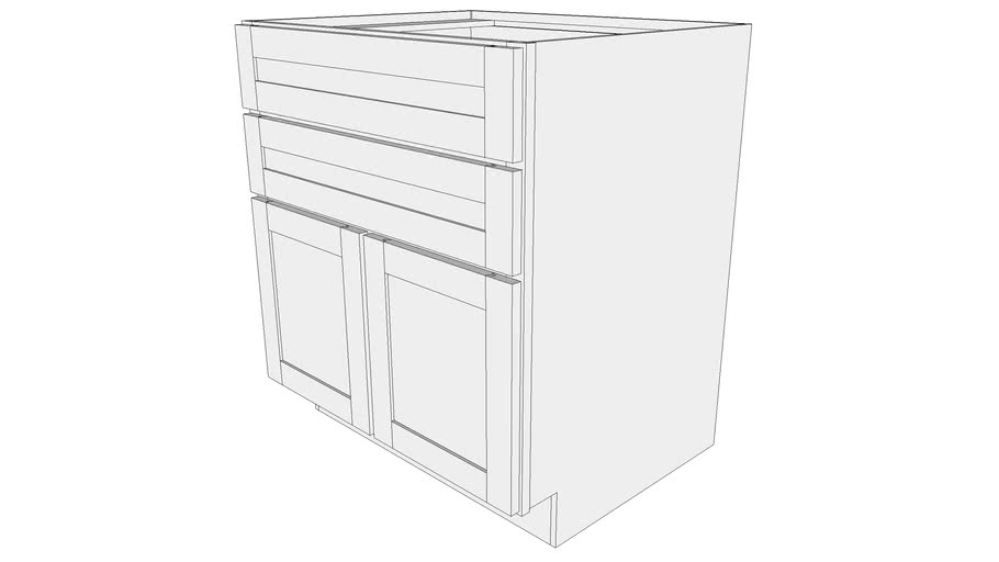 Bayside Base Cabinet B2D30 - Two Drawers, Two Door