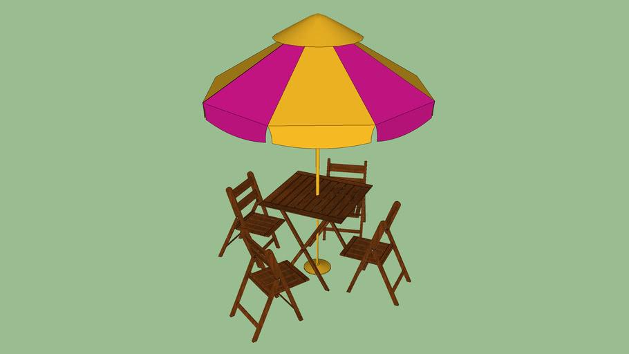 mesa com cadeiras para piscina.skp