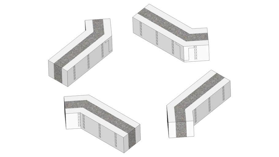 """4"""" 45deg Half-height Corners Right-hand Oriented"""