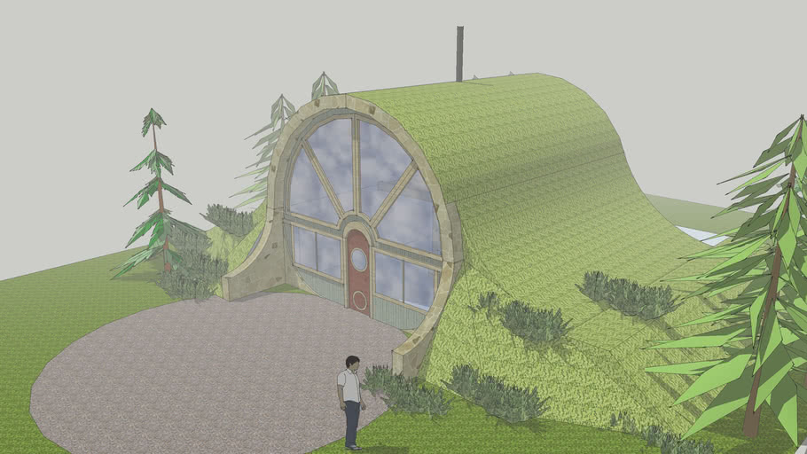 earth sheltered  underground hill house