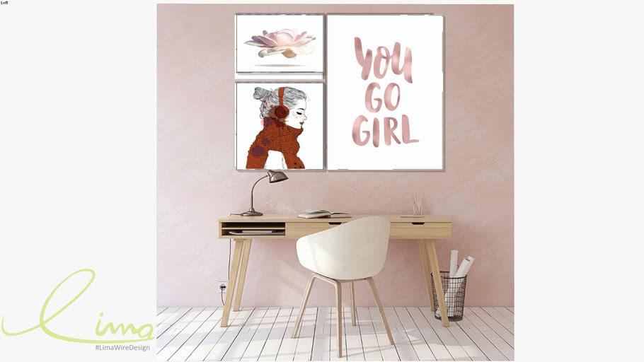 Conjunto com 3 quadros decorativos You Go Girl -Paola Cury