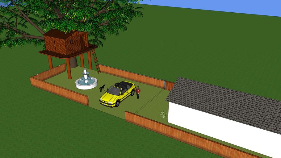 Maison (jardin, voiture, cloture, cabane, arbre...
