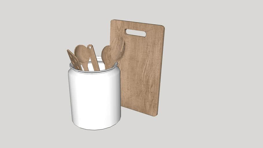 Utensílios de cozinha - tábua e talheres de madeira