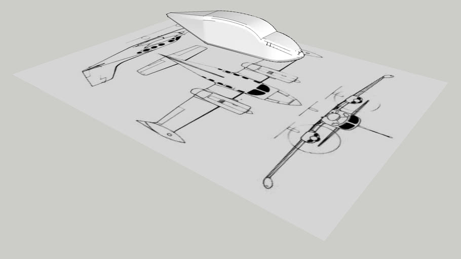 Unfinished fuselage for a Cessna 421 model with blueprints