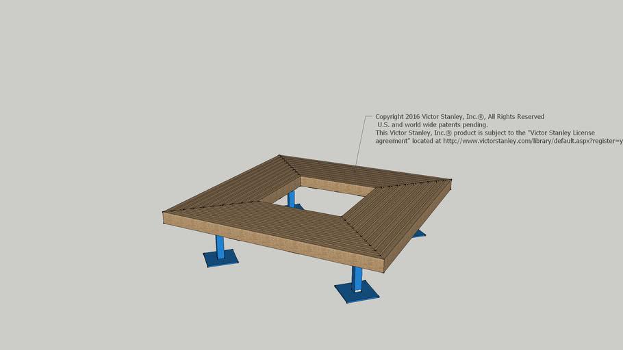 "GBS-66 Geometric 66"" Square Backless Wood Slat Bench"