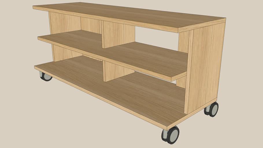BENNO oak TV bench-castors
