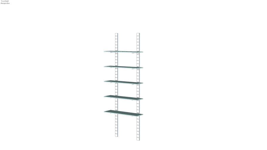 "96"" SlatStrip 5 Glass Shelves - Unit W/10"" Brackets"