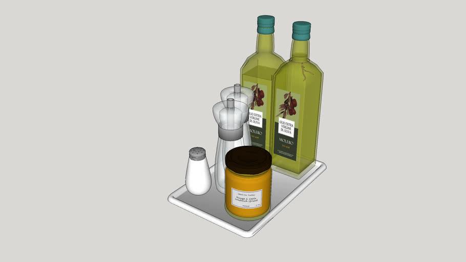 Utensílios de cozinha - Azeite, saleiro e tempero