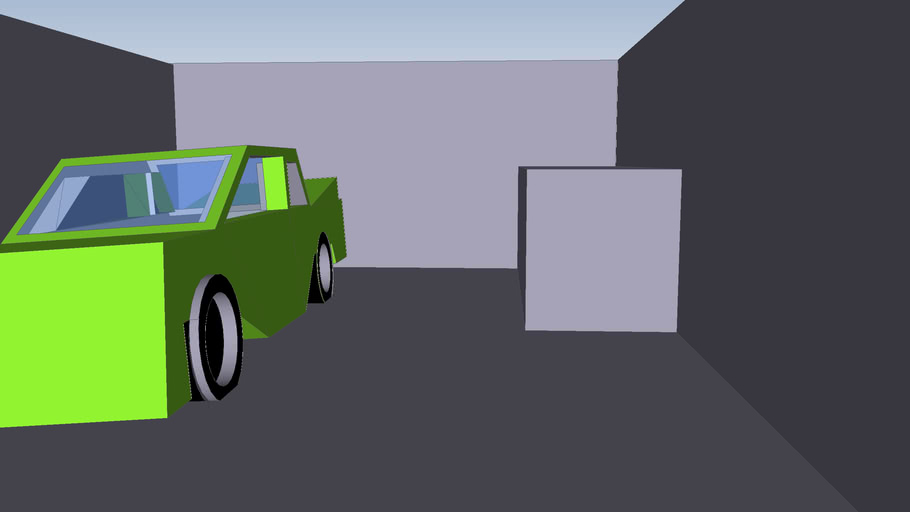 low poly car and garage