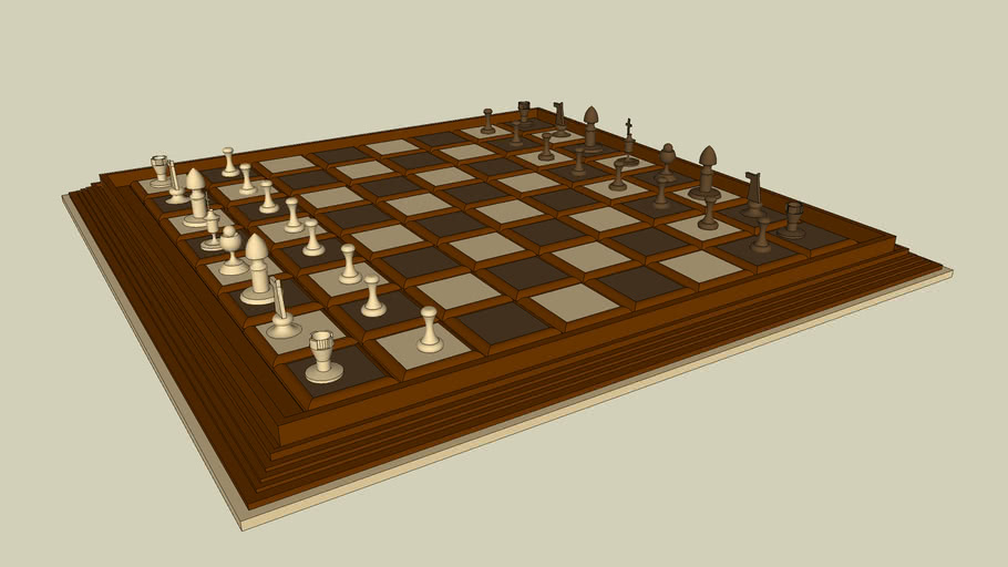 wooden chess set for #1 3d challenge