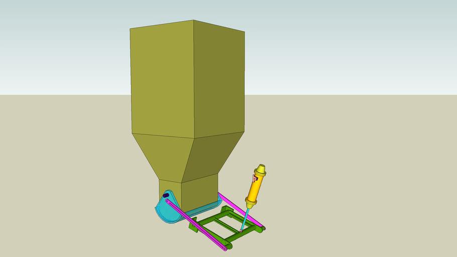 3d model of bulk material bin gate system