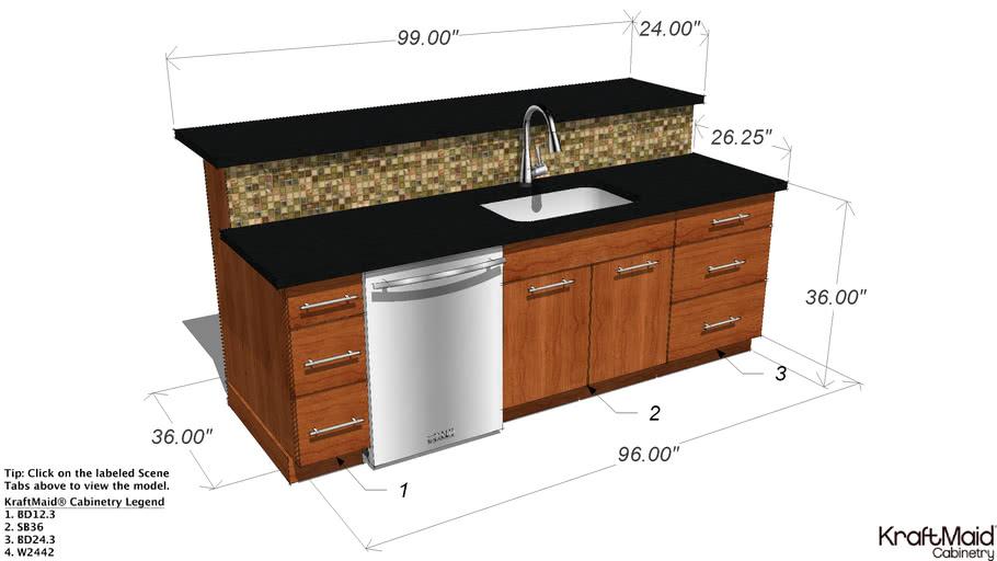 Kitchen Island With Kraftmaid Cabinetry, Kraftmaid Appliance Garage Dimensions