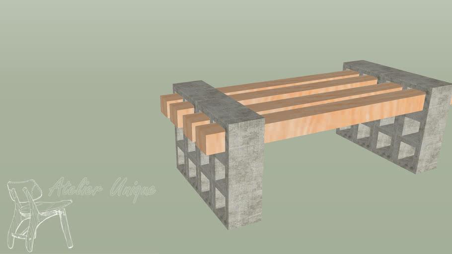 Banco de concreto e madeira para jardim