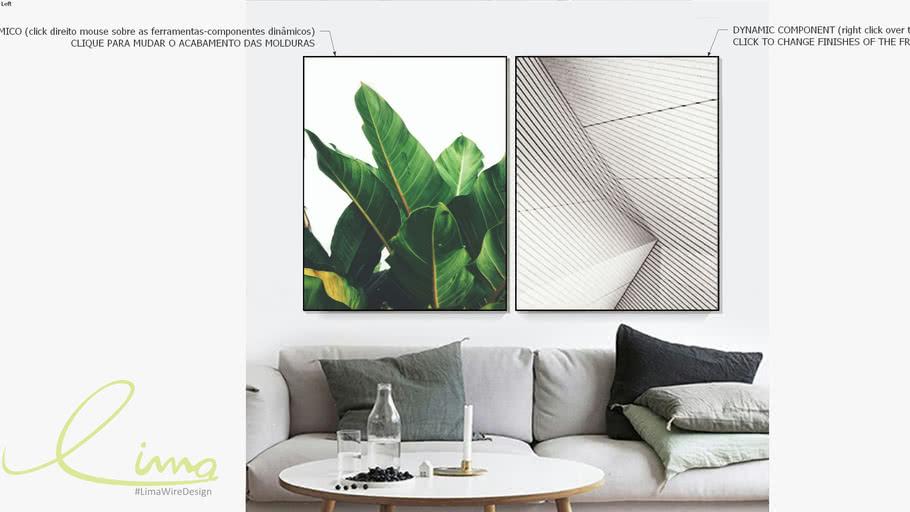 Conjunto com 2 quadros decorativos Geometria Tropical - Paola Cury