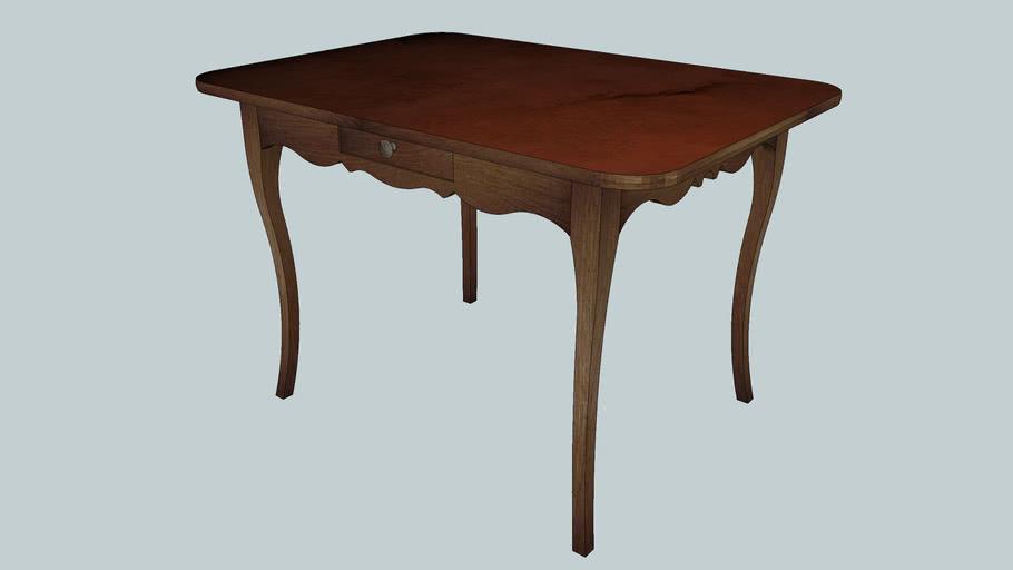Table en bois - plateau faux marbre / Wooden table - Marbled top