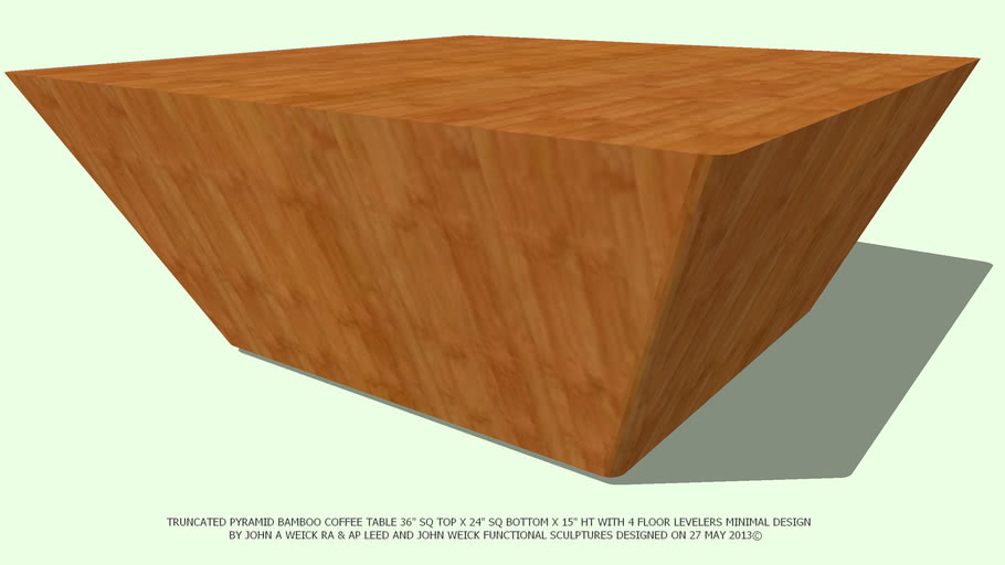 TABLE COFFEE 36SQ TRUNCATED SELECT BAMBOO NO TOP BY JOHN A WEICK RA